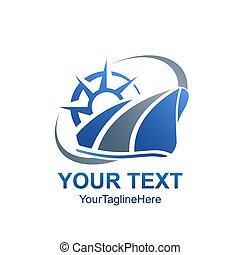 Creative abstract compass swoosh vector logo design template element. Color blue grey concept icon