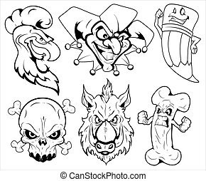 Angry Mascot Tattoo Vector