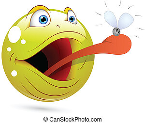 Frog Catching Fly Smiley Character - Creative Abstract...