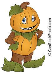 Pumpkin Man Cartoon Character