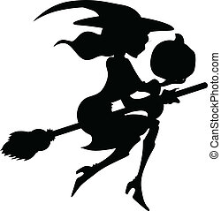 Creative Abstract Conceptual Artistic Design Art of Witch Silhouette