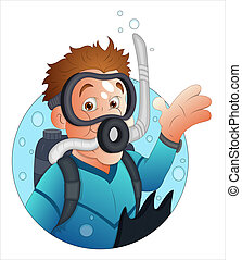 Cartoon Diver Character - Creative Abstract Conceptual...