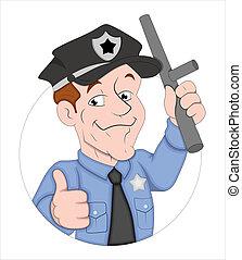 Cartoon Policeman Character - Creative Abstract Conceptual...