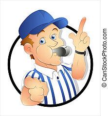 Creative Abstract Conceptual Design Art of Cartoon Referee Vector Illustration