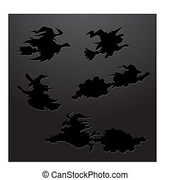 Cartoon Witch Silhouettes