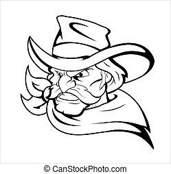 Cowboy Mascot Vector Character - Creative Abstract...
