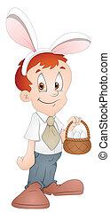Easter Boy Cartoon Character Vector