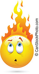 Fire on Head Smiley Face