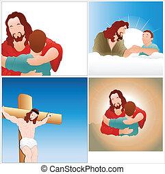 Creative Abstract Conceptual Design Art of Jesus Vectors