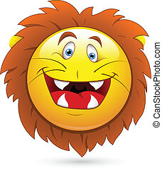 Lion Head Smiley Character Face