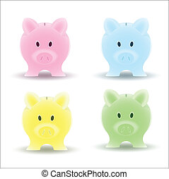 Piggy Bank Vector - Creative Abstract Conceptual Design Art...