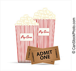 Popcorn and Tickets Vectors