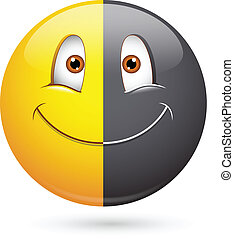 Racism Half Black Smiley Face - Creative Abstract Conceptual...