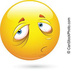 Sleepily and Sad Smiley Face - Creative Abstract Conceptual...