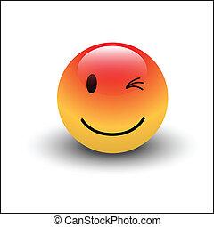 Creative Abstract Conceptual Design Art of Winking Smiley