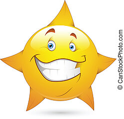 Star Smiley Face Icon Vector