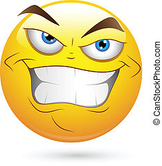 Evil Villain Smiley Face Vector - Creative Abstract ...