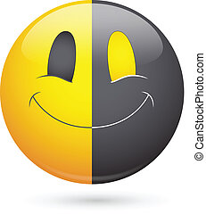 Half Black Happy Smiley Face Vector