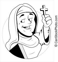 Nun Character Vector Illustration