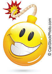 Creative Abstract Conceptual Drawing Art of Offer Blast Bomb Smiley Face