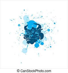 Angry Bull Vector - Creative Abstract Design Art of Angry...