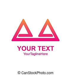Creative abstract double triangle vector logo design template element. Colorful concept icon