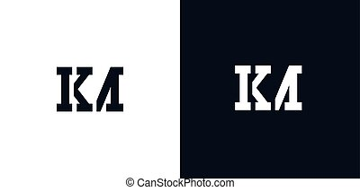 Creative abstract initial letter KM logo. This logo incorporate with abstract typeface in the creative way.It will be suitable for which company or brand name start those initial.