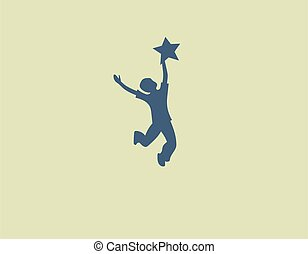Creative abstract logo child boy with a star