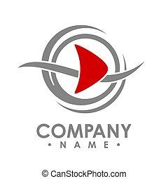 Creative abstract media play button vector logo design template element