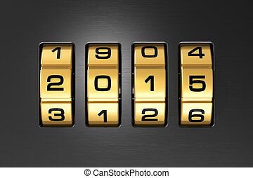 Creative abstract New Year 2015 concept: macro view of combination lock with 2015 code text