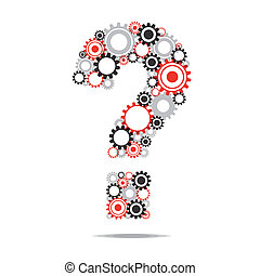Creative Abstract Question Mark With Transparent Cog Wheels vector illustration