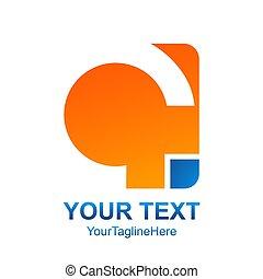 Creative abstract round square vector logo design template element. Colored orange blue concept icon