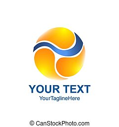 Creative abstract triple yin yang vector logo design template element. Colored orange concept icon