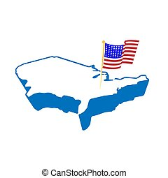Creative abstract USA map and flag, vector illustration