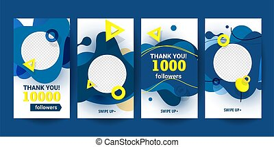 Creative abstract vertical banners set with liquid forms and subscribe to us with text in pantone 2020 color. Vector illustration for marketing, social media or network promotion, SMM banner, landing page, flyer.