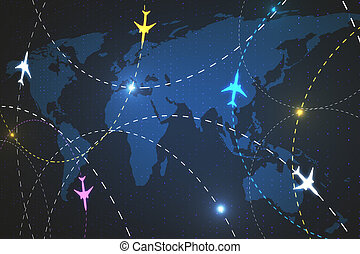 Worldwide travel and technology concept