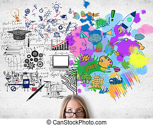 Creative and analytical thinking concept. Attractive woman with colorful sketch on concrete background