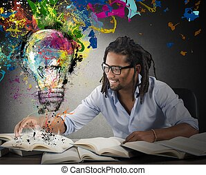 Creative and colorful idea - Man reads books with above...
