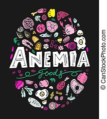 Creative anemia background with lettering in doodle style. ...