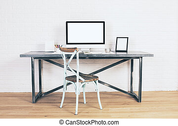 Creative antique chair at desk