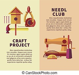 Creative art and handicraft workshop vector flat poster of woodwork and needlework instruments