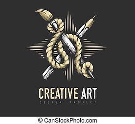 Creative Art concept. Heraldic emblem of pencil and brush rope.
