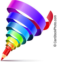 creative art pencil design concept with spiral of color rainbow ribbon isolated on white background - eps10 vector illustration. Transparent objects used for shadow drawing
