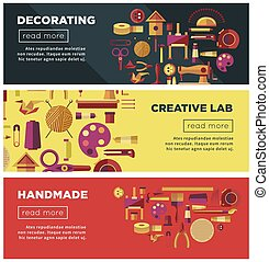 Creative art workshop or DIY handicraft laboratory web vector banners for kid handmade craft