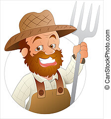 Cartoon Farmer - Creative Artistic Conceptual Design Art of...