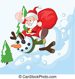 Cartoon Santa with Snowman