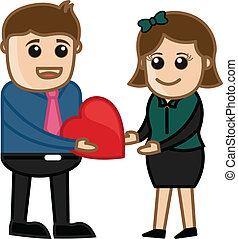Boy Giving a Heart to Girl Vector