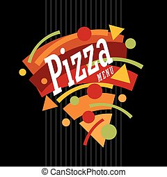 Creative artistic funky style pizza graphic made from geometric shapes. Colorful pizza menu template. Pizzeria restaurant promotional banner design. Fast food.