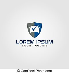 Creative auto service logo concept design with shield shapes, simple and professional feel. Very nice for brand identity .