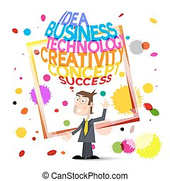 Creative Background. Colorful Stains with Man. Vector Creativity in Business Concept Symbol.